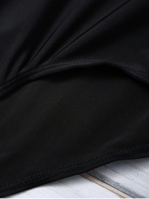 chic Color Block Halter Push Up Swimwear - WHITE AND BLACK M Mobile