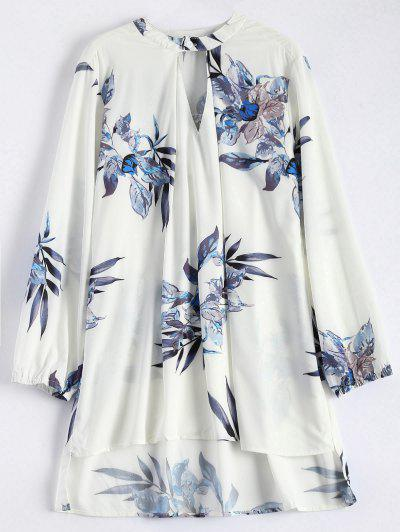 High Low Flower Print Tunic Blouse - White