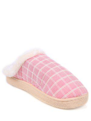 Checked Falt Heel Faux Fur House Slippers
