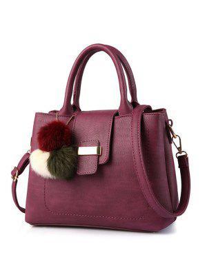 Kunstleder-Handtasche mit Pom Pom
