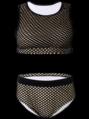 Traje De Baño Camiseta Sin Mangas Rejilla Y Calzones Cintura Alta  - Negro 3xl