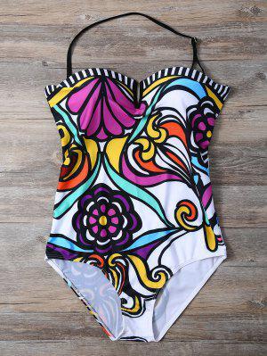 Strapless Floral Print One-Piece Swimwear - White L