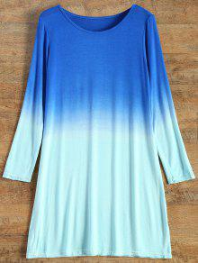 Long Sleeve Ombre T-Shirt Dress - Turquoise S