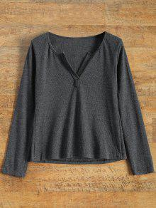 Long Sleeve Notched Pullover Knit Top - Gray S