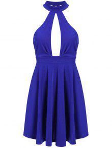 فستان بلا أكمام مفتوحة الظهر ثقب المفتاح غارق - أزرق M