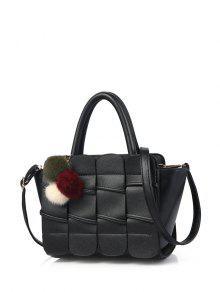 Buy Patches Winged Pompon Detail Handbag - BLACK