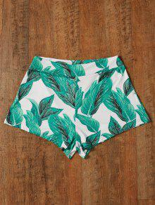 High Waisted Tropical Print Shorts - Green L