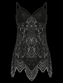 Lace Slip Asymmetric Babydoll Et Briefs - Noir