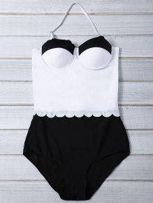 Color Block Halter Push Up Swimwear - White And Black L