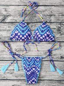 Side Tie Halter Tassel Printed Bikini Set - Blue M