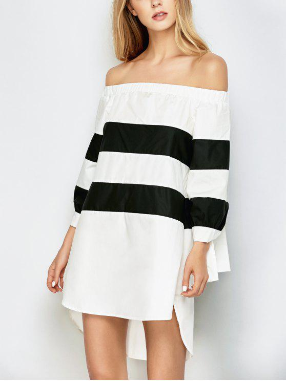 new High Low Striped Off Shoulder Dress - WHITE AND BLACK XL