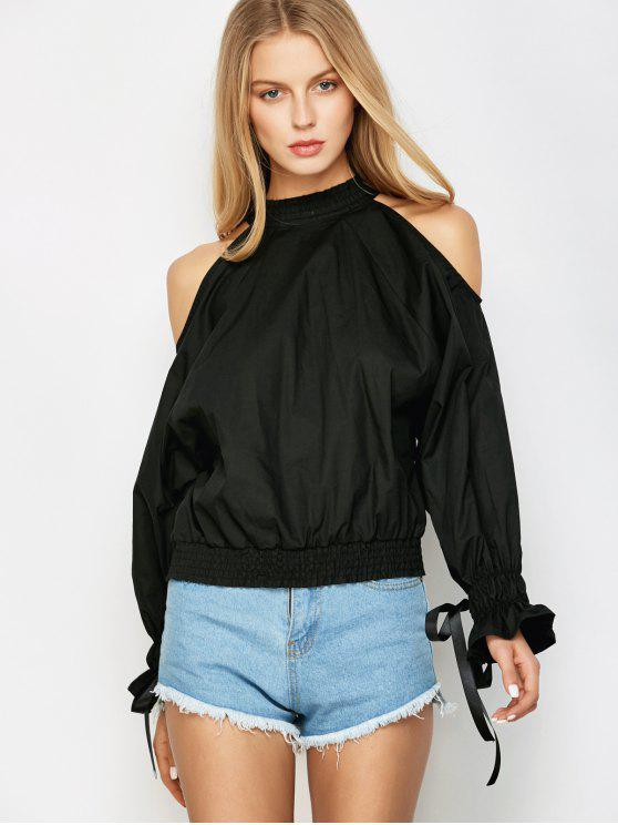 Cold Shoulder de la blusa - Negro S