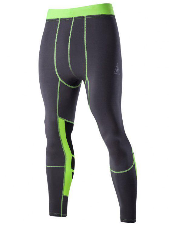 Farbblock-elastische Taillen-Sport-Hosen für Männer - Grau L