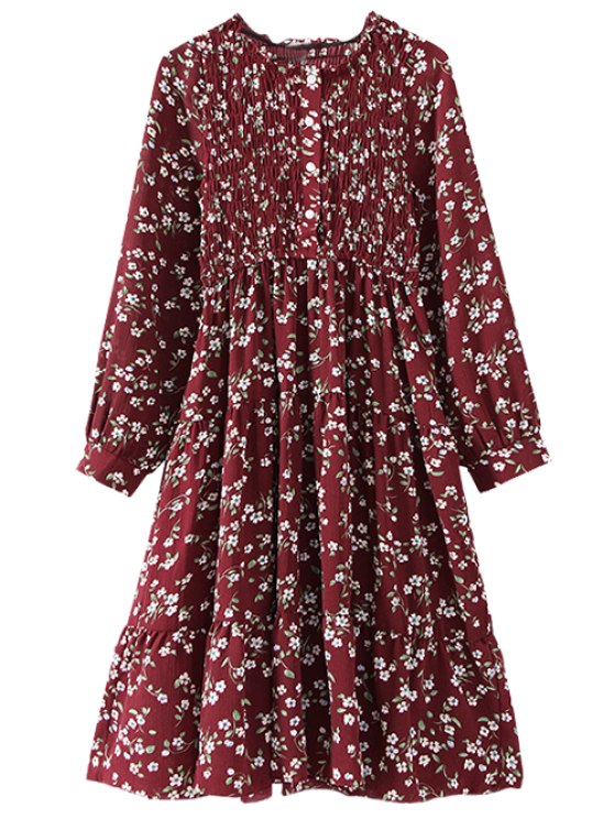 new Floral Smocked Long Sleeve Swing Dress - WINE RED ONE SIZE