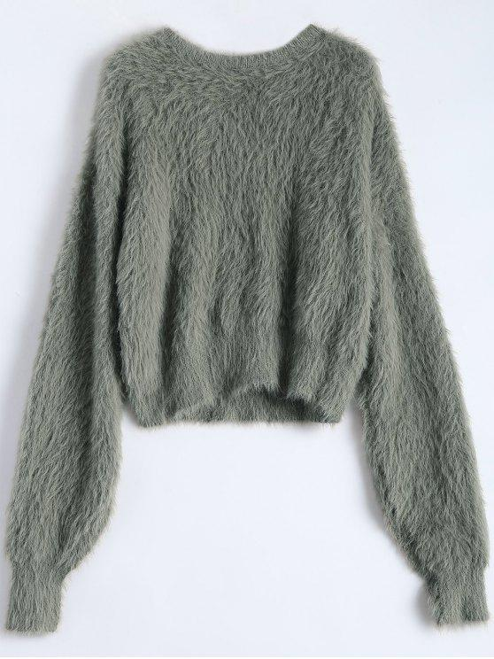 Fuzzy Cropped Sweater ARMY GREEN: Sweaters ONE SIZE | ZAFUL