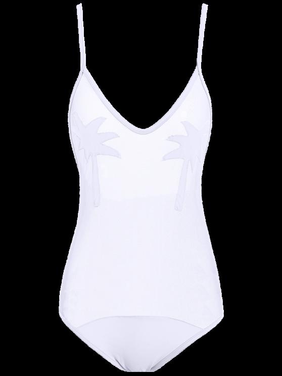 شبكة شير شجرة النخيل مرقع ملابس السباحة - أبيض M