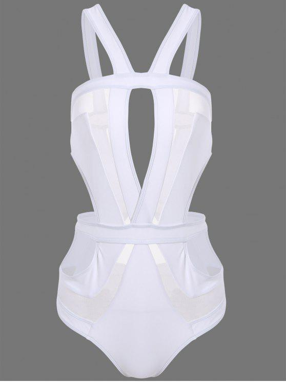 sale Cut Out Mesh Panel Swimsuit - WHITE M