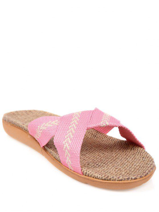 women's Linen Color Block Cross Straps Slippers - PINK SIZE(39-40)