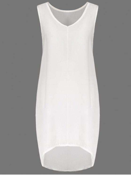 fashion White V Neck Sleeveless Dress - WHITE M
