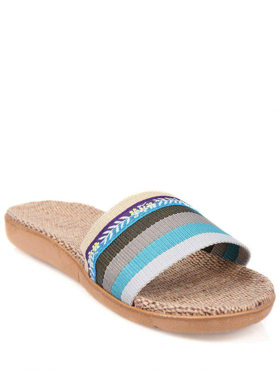 ladies Flowers Ombre Striped House Slippers - BLUE SIZE(37-38)