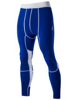 Color Block Elastic Waist Sports Pants For Men - Blue L