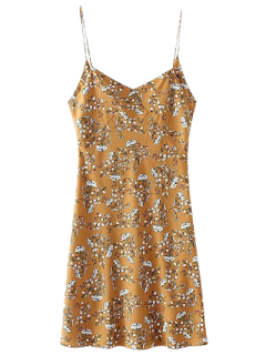 Mini Low Back Floral Slip Dress - Yellow S