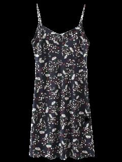 Robe Imprimée Floral Sans Manches Bretelles  - Bleu Cadette S