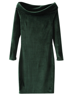Velvet Bodycon Off The Shoulder Dress - Deep Green S