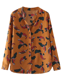 Birds Printed Stand Collar Shirt - Yellow Ocher S