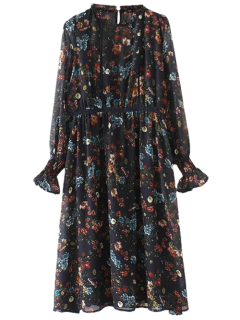 Long Sleeve Printed Sheer Smock Dress - Purplish Blue L