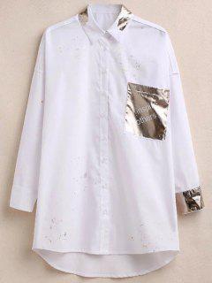 Camisa De Gran Tamaño Salpicadura De La Pintura Brillante Con El Bolsillo - Blanco S