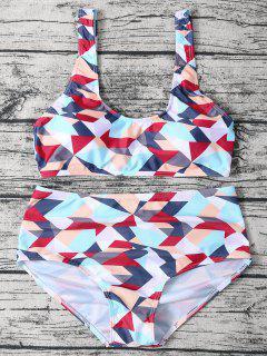 High Waisted Geometric Print Bikini - L