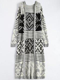 Patterned Hooded Maxi Cardigan - Gray