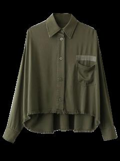Chemise Militaire à Ourlet Effiloché - Vert Armée S
