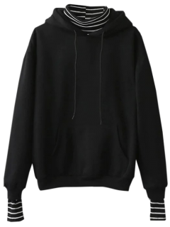 Oversized Layered Look Pullover Hoodie - Black