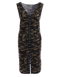 Hooded Camouflage Bodycon Dress - Army Green Xl
