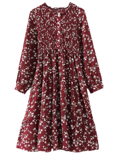 Floral Gesmoktes Langarm Kleid - Weinrot