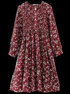 Vestir De Manga Larga Smocked Floral - Vino Rojo