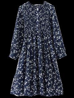 Robe à Smocks Manches Longues à Fleur - Cadetblue