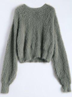 Fuzzy Recadrée Sweater - Vert Armée