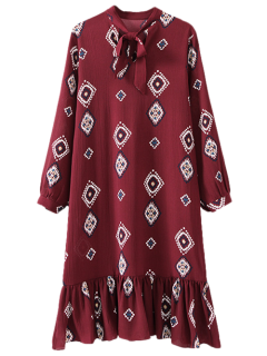 Geometric Bow Tie Long Sleeve Dress - Claret