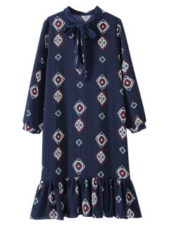 Geometric Bow Tie Long Sleeve Dress - Cadetblue