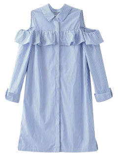 Cold Shoulder Ruffle Striped Shirt - Light Blue M
