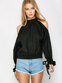 Cold Shoulder Blouse - Black M