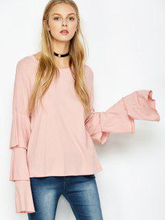 Multi-Layered Sleeve Knitwear - Pink S