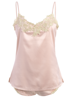 Lacework Embroidered Tank Top And Shorts Pajamas - Pink