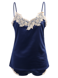 Lacework Embroidered Tank Top And Shorts Pajamas - Sapphire Blue