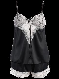 Lacework See-Through Tank Top And Elastic Waist Shorts Pajamas - Black