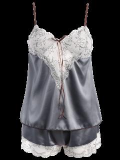 Lacework See-Through Tank Top Et Taille élastique Shorts Pyjamas - Gris