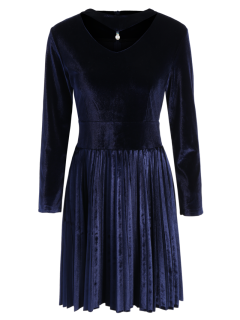 Velvet Long Sleeve Choker Pleated Dress - Purplish Blue M